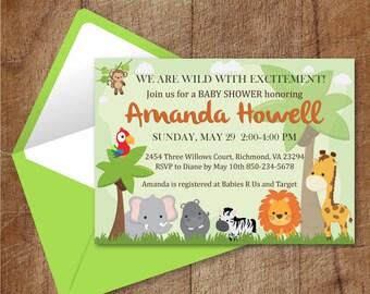 Safari Baby Shower Invitation Printable, Custom Jungle Animals Shower Invitation Printable, Printable Safari Baby Shower Invite