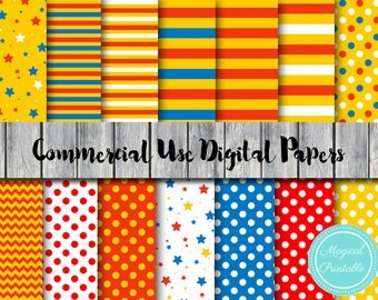 Circus Digital Paper, Carnival Digital Papers, Instant Download Digital Papers, Scrapbook Digital Papers, Digital Background, DP23