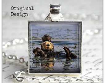 Sea Otter Pendant Necklace Otter Jewelry Wildlife Animal Jewelry Animal pendant necklace Nature Jewelry Nature Necklace Nature Lover Gift