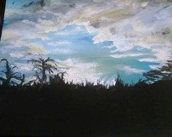 "Dark Battles OOAK Acrylic Painting 8"" x 10"""