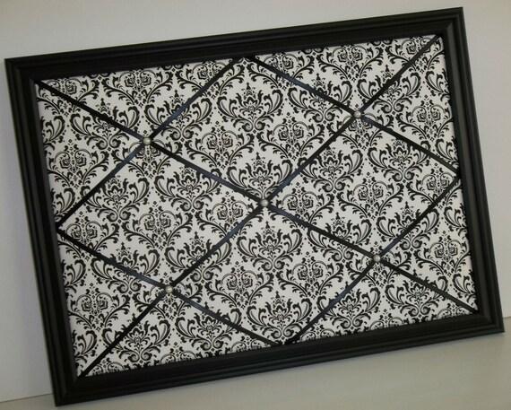 Madison Black & White Damask fabric ~ Framed Memo Board