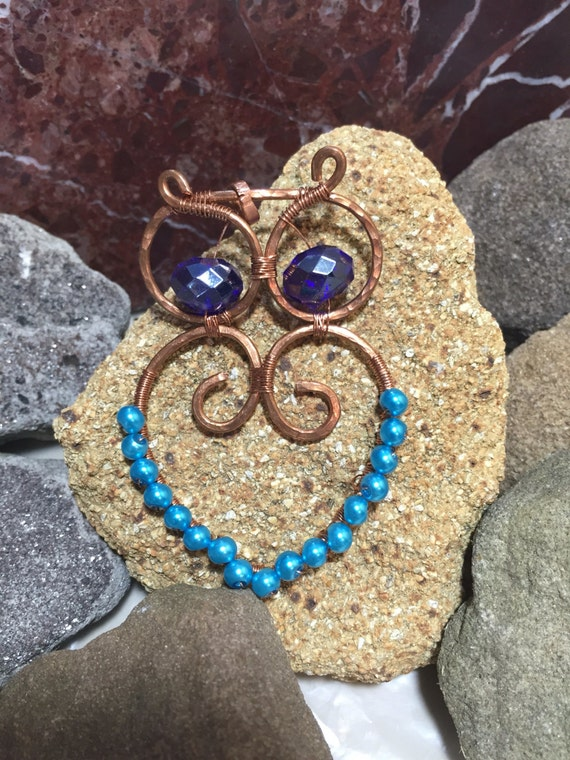 Handmade copper owl pendant, copper wire owl pendant, beaded copper owl pendant, copper pearl owl pendant, hammered copper owl pendant,