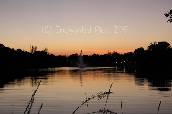 Lakeside Photography: Sunset at the Lake- nature photography, trees, lake, water, sunset, fountain, sky