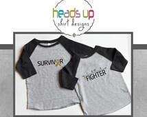 Cancer Shirt Raglan Toddler Boy/Girl - I Am A Fighter Cancer tshirt - Cancer Survivor t-shirt - Cancer Awareness Shirt - Baby Onesie - Adult