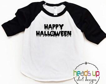 Halloween Shirt Baby/Toddler/Kids/Adults - Happy Halloween Costume tshirt - Raglan Halloween Tee Boy/Girl - Room Mom Costume - Trendy Tee