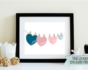 Family Tree Print - Family Hearts Personalised Print - Personalized Family Print - Family Members Print - Family Gift