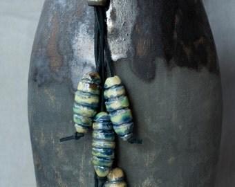 Ceramic Raku necklace, ethnic style, green, cobalt blue