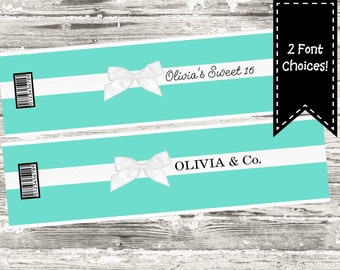 Teal with White Bow Water Bottle Label Printable Digital