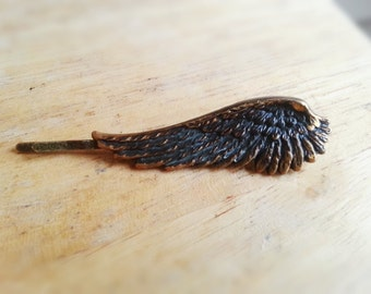 Antique Brass Angel Wing Bobby Pin Hair Clip Antique Brass Feather Hair Clip Woodland Hair Accessories Gift for Her Women's Gift