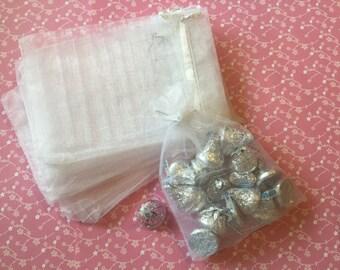12pcs White Organza Bags  6*4inch