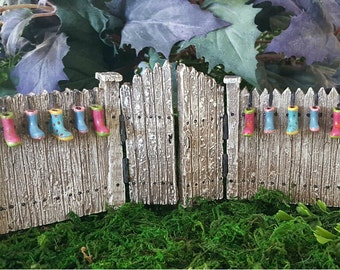 Miniature Fence with Gates and Rain Boot Planters - 2 pc set