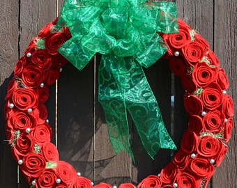 Christmas Red Roses (Felt) Wreath