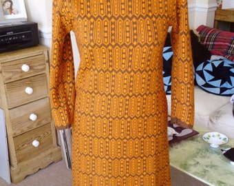 1950'S BROWN AND ORANGE dress