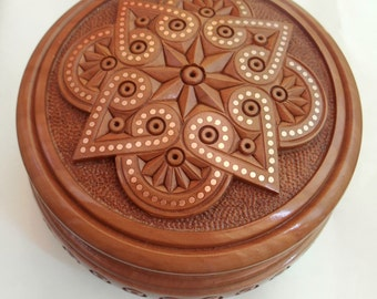 """Jewelry box Round Wood Carved Box with incrustation metal Box encrusted copper Necklace Jewelry Gift Box Wedding gifts 5"""" souvenir Шкатулка"""