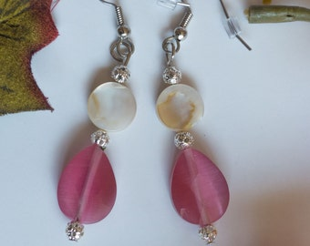 Pink glass & mother-of-pearl dangle earrings