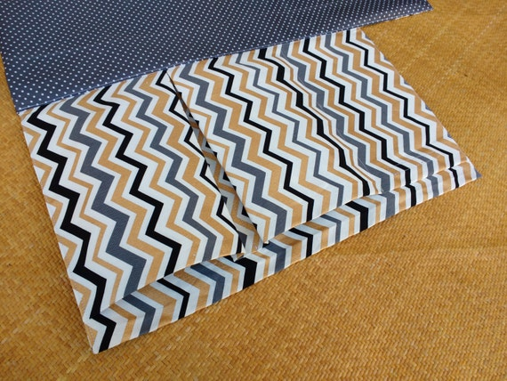 Nappy wallet /diaper clutch with waterproof change mat / change pad - three or two pockets -Mini Chevron Cotton Duck-Gold