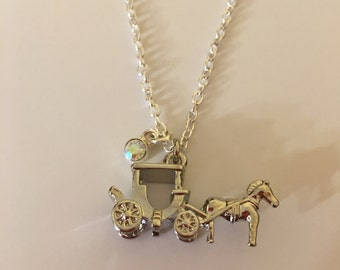 Horse Drawn Carriage and Gem Charm Necklace