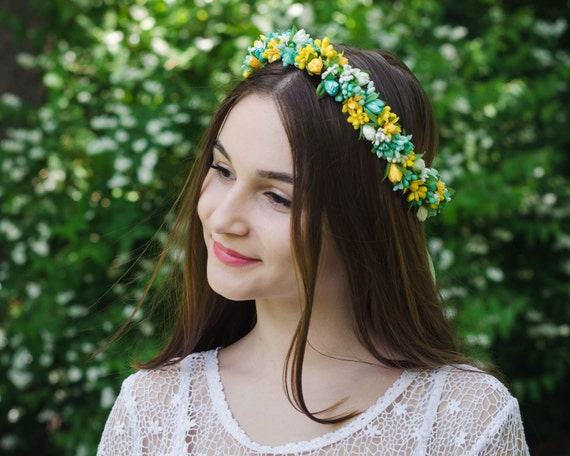 Mint green yellow headband with a bow / wedding flower girl crown / tulip / lily / floral wreath / hair band / vinok / Ukraine