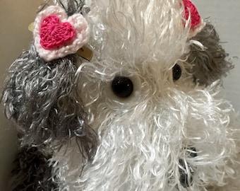 Dog Barrettes, Doggie Heart Barrette, Crocheted Heart Barrette