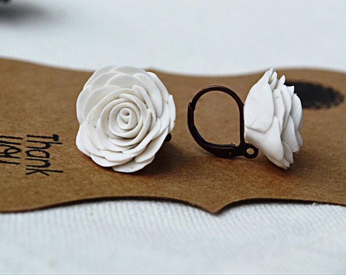 White rose earrings, white flower earrings, retro earrings, floral earrings, floral jewelry, summer earrings, retro jewelry,romantic gift