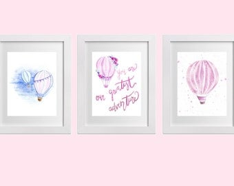 Pink Hot Air Balloon Watercolour Nursery set (3), Nursery art, baby girl, You are our greatest adventure
