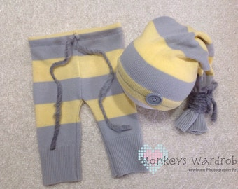 Boys 'Ivan' newborn pant & hat set.