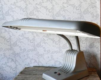 Vintage Union Metal Desk Lamp - Double Gooseneck Industrial Lamp