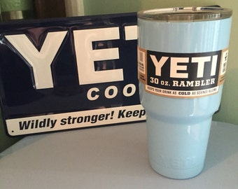 30oz Yeti Powder Blue Powder Coated Rambler