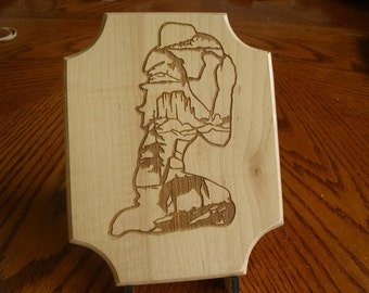 Laser Engraved Praying Cow Girl Wood Plaque