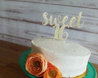 Sweet sixteen cake topper, sweet 16 cake topper, sweet 16 birthday, 16th birthday decorations 16th birthday cake topper,gold glitter topper