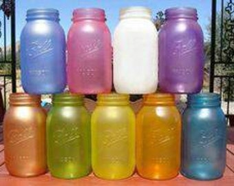 Quart size Custom tinted mason jars