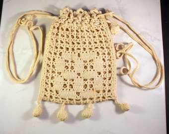 Vintage Hand Crocheted Reticule Purse With Drawstrings Ecru Evening Bag