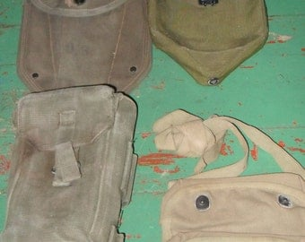 4 Military Green Carrying Bags Shovel Covers USA