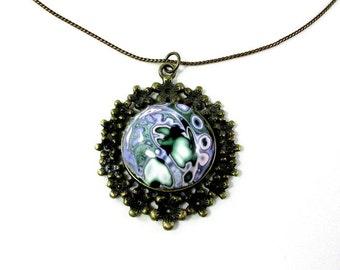 Retro green and purple necklace