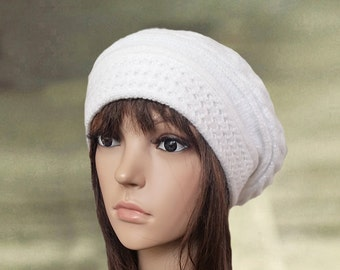 White knitted beret, Women's knit beret, Slouchy beret lady, Knitted winter beret, Trendy beret winter, Ladies white beret, Knit wool beret