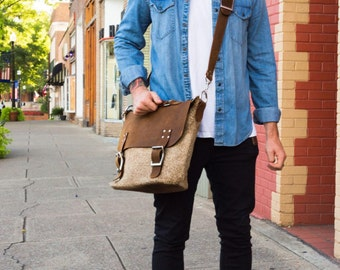 Men's Messenger Bag in Tan Cowhide and Brown Leather