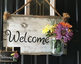 Mason jar decor, Mason jar welcome sign, Welcome door sign, Front door rustic welcome sign, Rustic porch decor, Door hanging welcome sign