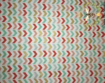 Blush Coral Broken CHEVRON Mint Native American Apparel Quilting 100% Cotton Fabric 1 Yard