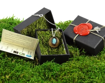 EUCALYPTUS and matrix TURQUOISE in pendant + necklace in Silver's law