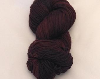 Dark Wine- Merino Worsted Weight Yarn- Hand Dyed- OOAK