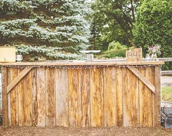 Reclaimed barn wood indoor / outdoor wedding or event bar – Customizable