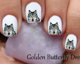 1125 Wolf Waterslide Nail Art Decals Decal Stickers Enough For 2 Manicures