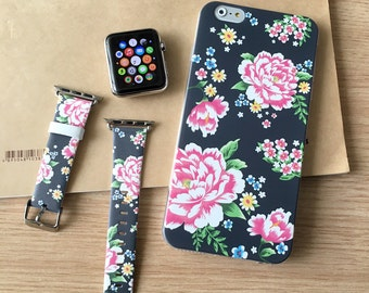 Navy Flower IPhone Case Apple Watch Band 38mm 42mm Gift Set 7