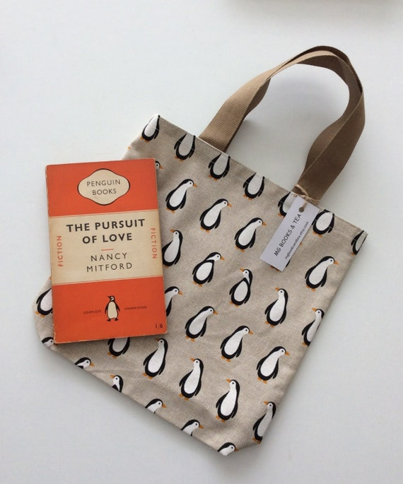 Book tote with penguin print