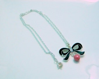 Necklace silver chain black node (C55)