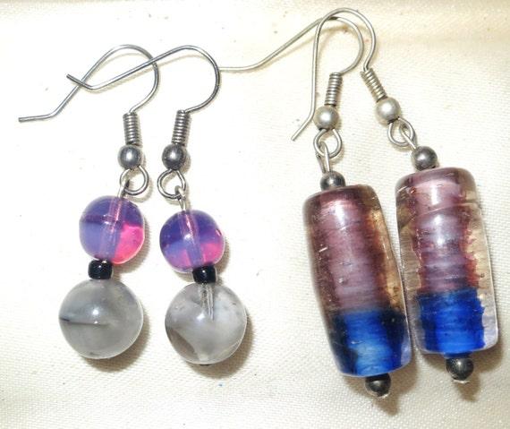2 pairs of silvertone opal glass earrings