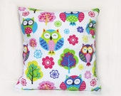 Colorful Linen Owl Pillow Cover, Tree Pillowcases, Flowers Cushion, Birds, Kids, Garden, White, Green, Blue, Purple, Yellow, Emerald, Pink