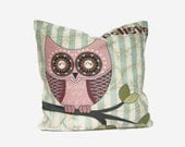 Pillow Believe,  Owl Pillow in Pantone 2016 Colors - Mint Stripes, Pink Quartz, Brown, Off White, Green, Olive, Decorative Pillow Cover