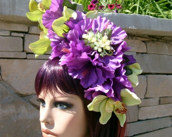Orchid and Hibiscus Sparkle! Headband Headdress Green Purple Flowers Rhinestone Party Wedding Bridal Easter