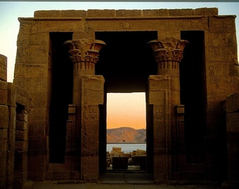 PHILAE, A Ptolemaic Temple Overlooking The Nile In Nubia - Aswan, Egypt.  A Framable Blank 5x7 Fine Art Photo Card. Copyright  Protected.